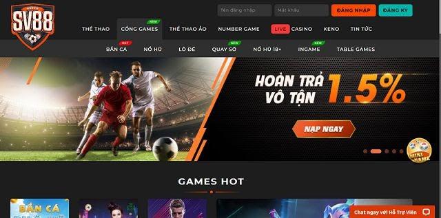 SV88 - Trang cá cược thể thao, game bài online hay ho nhất cộng đồng